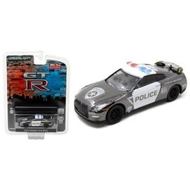 Greenlight Collectibles Greenlight 2015 Nissan GT-R (R35) Black Chrome Police MiJo Exclusive 1:64 Scale Diecast Model Car