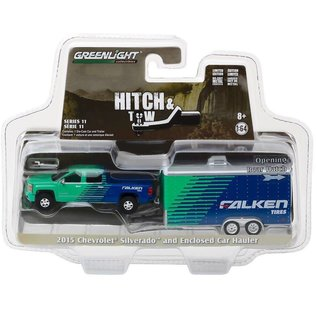 Greenlight Collectibles Greenlight 2015 Chevrolet Silverado And Enclosed Car Hauler Falken Tires Hitch & Tow Series Release 11 1:64 Scale Diecast Model Car