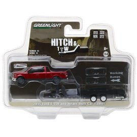 Greenlight Collectibles Greenlight 2015 Ford F-150 and Heavy Duty Car Hauler Hitch & Tow Series Release 11 1:64 Scale Diecast Model Car