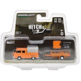 Greenlight Collectibles Greenlight 1978 Volkswagen Type 2 Double Cab Pickup and Utility Trailer Orange Hitch & Tow Series Release 11 1:64 Scale Diecast Model Car