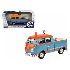Motor Max Motor Max Volkswagen Type 2 T1 Delivery/Pickup Road Service Orange And Blue 1:24 Scale Diecast Model Car