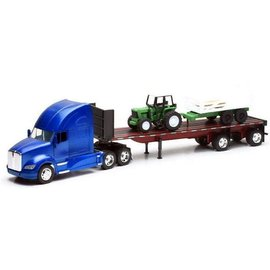 New Ray New Ray Kenworth T700 Flatbed With Farm Tractor and Trailer Blue 1:32 Scale Diecast Model Truck