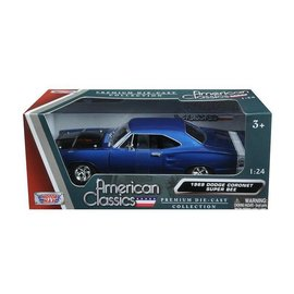 Motor Max Motor Max 1969 Dodge Coronet Super Bee Blue 1:24 Scale Diecast Model Car