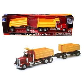 New Ray New Ray Peterbilt Model 379 Red Cab With Double Yellow Dumps 1:32 Scale Plastic And Diecast Model Truck