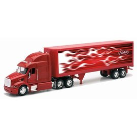 New Ray New Ray Red Cab Peterbilt 387 With Red Flame Freight Trailer 1:32 Scale Diecast And Plastic Model Truck