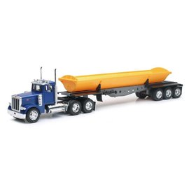 New Ray New Ray Blue Cab Peterbilt Model 379 With Yellow Dump Truck 1:32 Scale Plastic And Diecast Model Truck