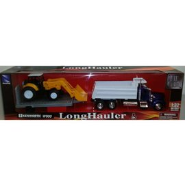 New Ray New Ray Blue Cab Kenworth W900 Dump Truck With Yellow Tractor And Trailer 1:32 Scale Diecast And Plastic Model Truck