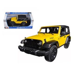 Maisto Maisto 2014 Jeep Wrnagler Yellow 1:18 Scale Diecast Model Car