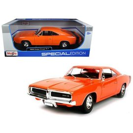 Maisto Maisto 1969 Dodge Charger RT Orange 1:18 Scale Diecast Model Car