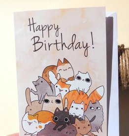 Michelle Scribbles Card - Happy Birthday Cats