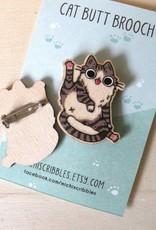 Michelle Scribbles Lapel Pin - Cat Butt