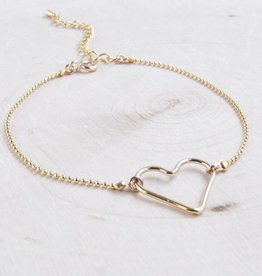 Emery and Opal Bracelet - Dainty Heart, Gold 7.5""