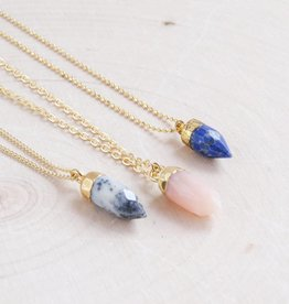 Emery and Opal Necklace - Pink Opal, 18""
