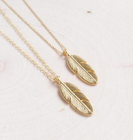 Emery and Opal Necklace - Feather, Gold, 18""