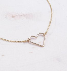 Emery and Opal Necklace - Dainty Heart, Gold, 14""