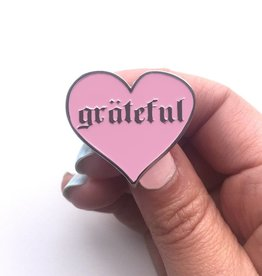 The Five15 Grateful, Pink + Silver Enamel Pin