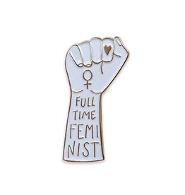 The Five15 Full Time Feminist, White + Silver Enamel Pin