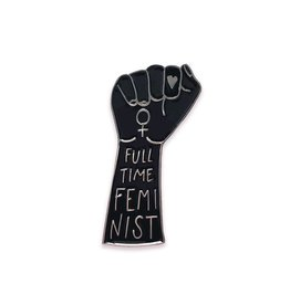 The Five15 Full Time Feminist, Black + Gold Enamel Pin