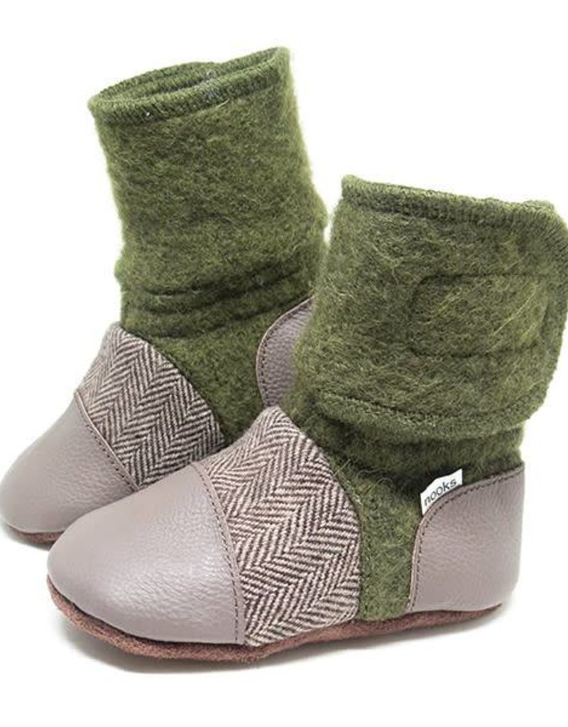 Nooks Design Felted Wool Booties  - Coastal Forest