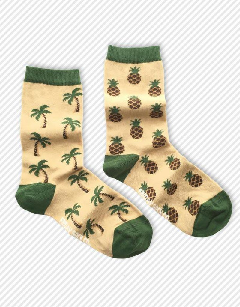 Friday Sock Co. Crew Socks - Pineapple + Palm Trees