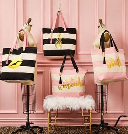 Two's Company Gold Foil Print Tote Bag