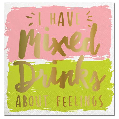 Slant Mixed Drinks About Feelings Napkins 20CT