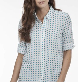 French Dressing Cubic Print Blouse Turquoise