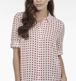 French Dressing Cubic Print Blouse Red