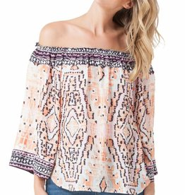 Hale Bob Ofelia Ruffled Shoulder Top
