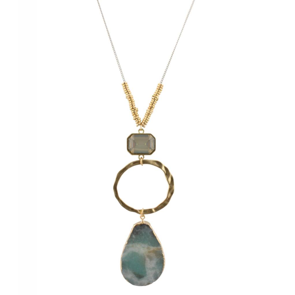 "Jane Marie 32"" Necklace Amazonite Stone Drop"