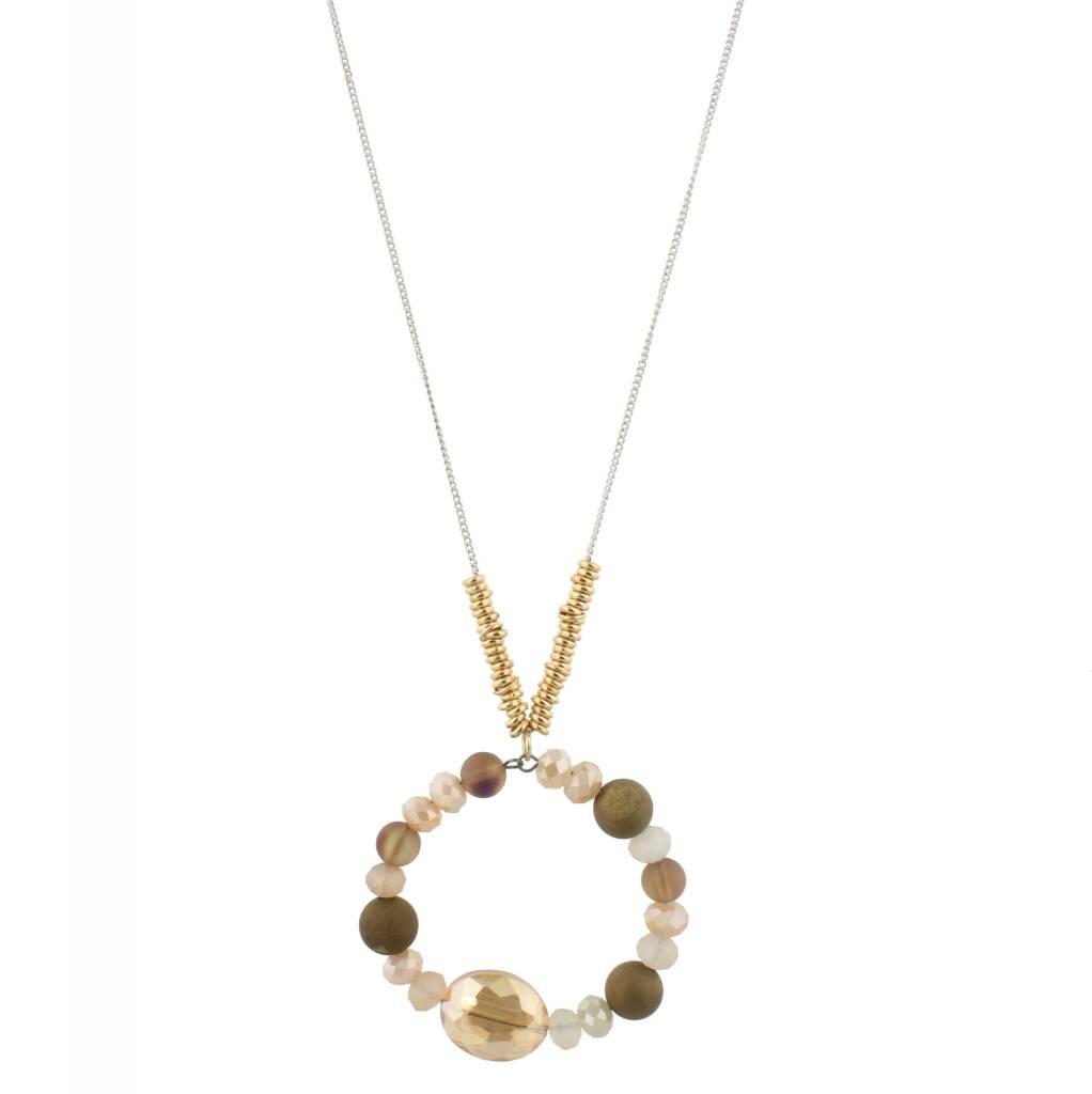 """Jane Marie 32"""" Necklace Brown Multi Beaded Hoop"""