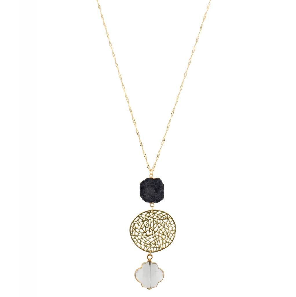 "Jane Marie 32"" Necklace Black Druzy"