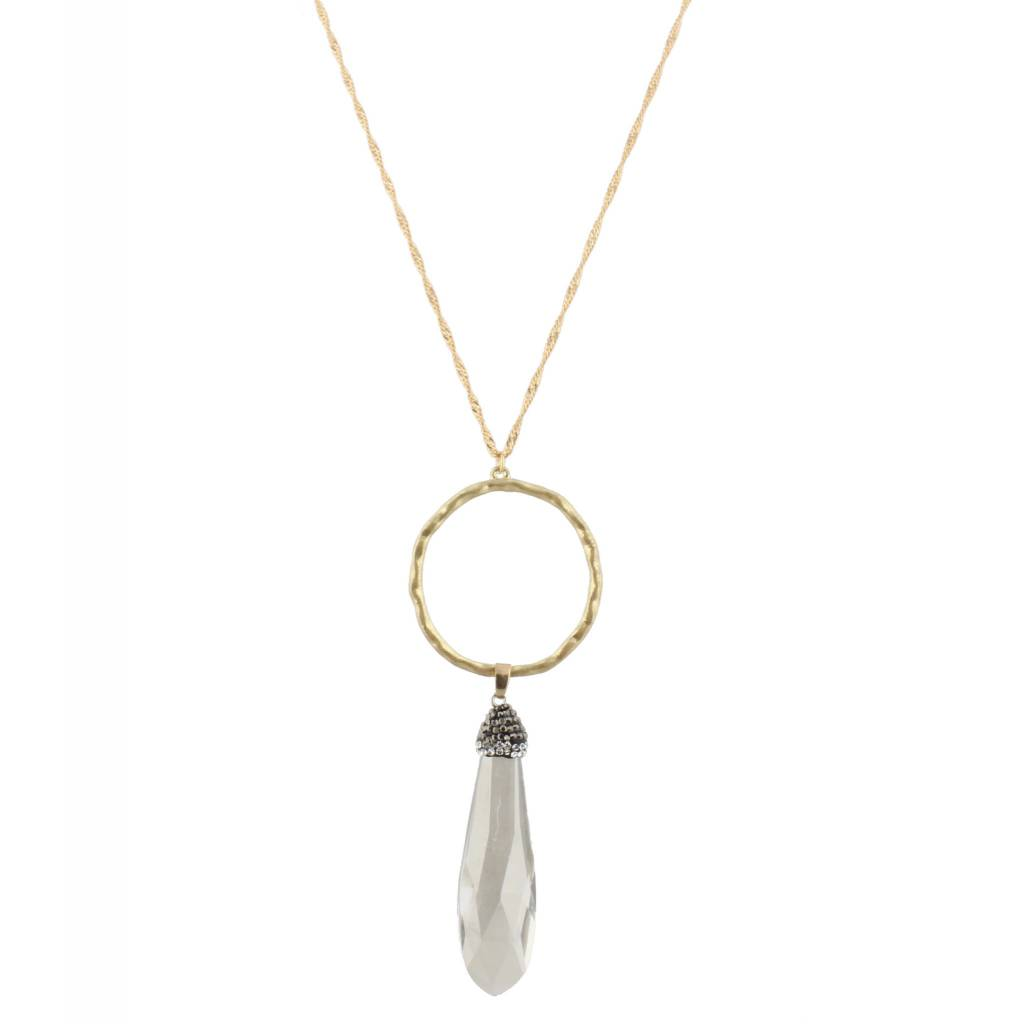 "Jane Marie 32"" Necklace Hammered Gold Circle"