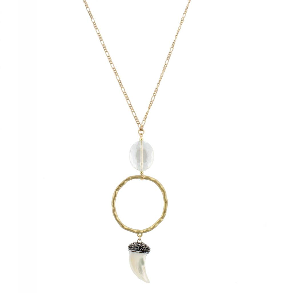 """Jane Marie 32"""" Necklace Hammered Gold Oval"""