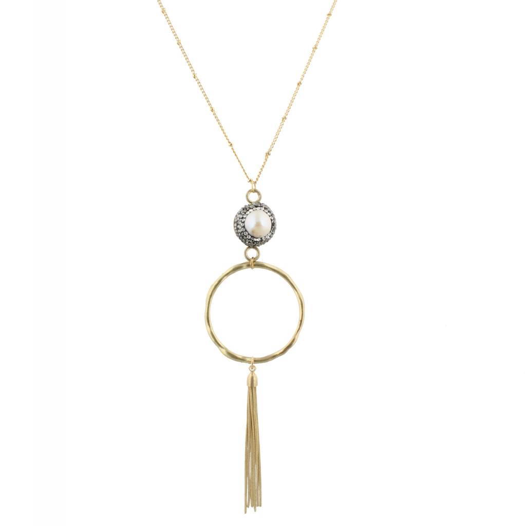 "Jane Marie 32"" Necklace Pave Pearl, Gold Tassel"