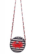 Embroidered Round Crossbody Bag with Crab