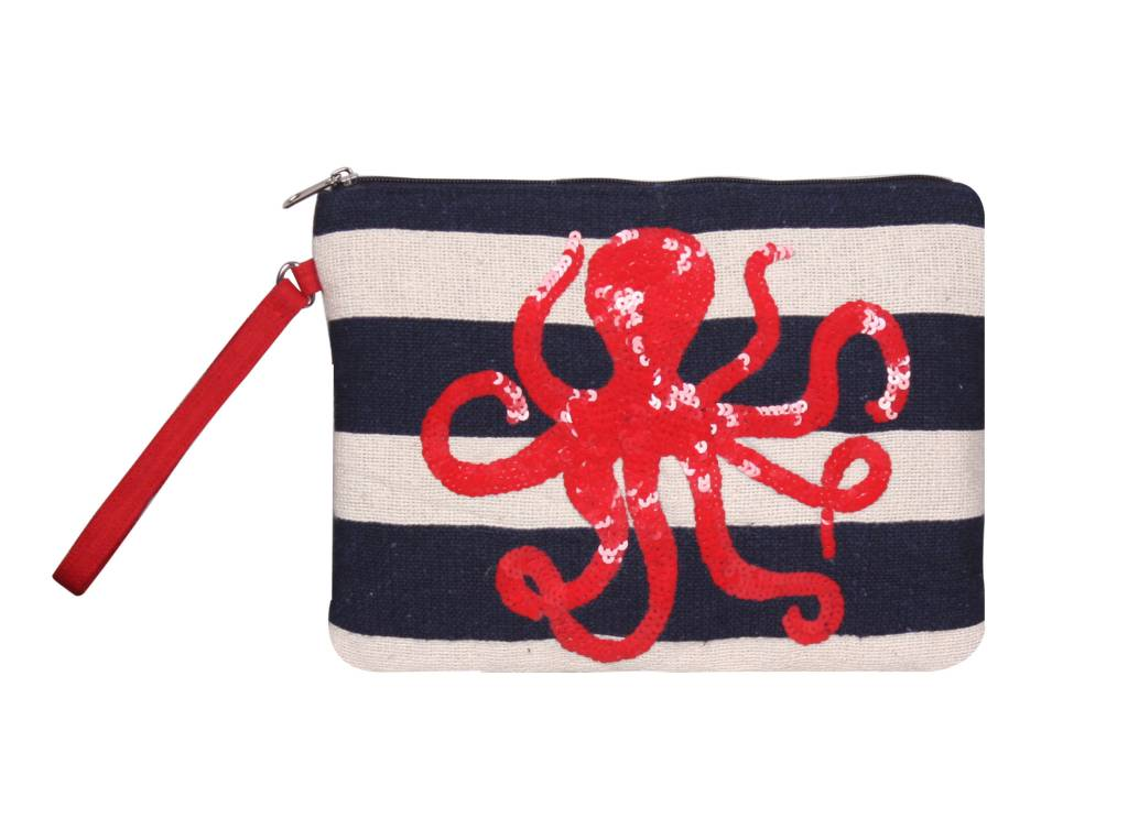 Embroidered Clutch with Octopus