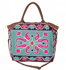 Moroccan Embroidered Velvet Tote