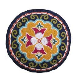 Levtex Round Embroidered Pillow