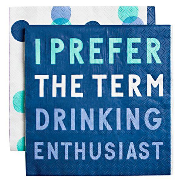 Slant I Prefer the Term Drinking Enthusiast Napkin 20 ct.