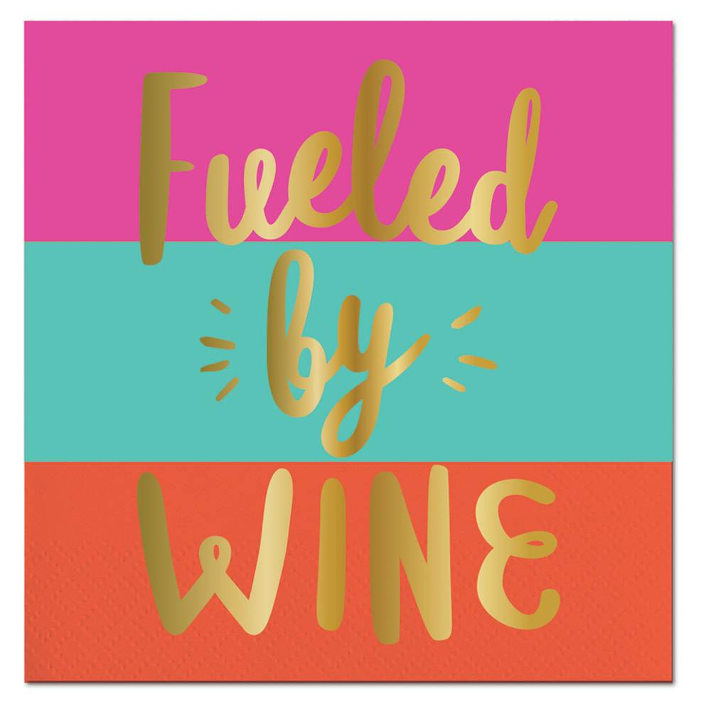 Slant Fueled By Wine Napkin 20 Ct