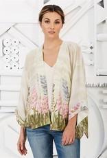 Two's Company Hyacinth Flower Short Kimono One Size