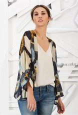 Two's Company Pansy Flower Short Kimono One Size