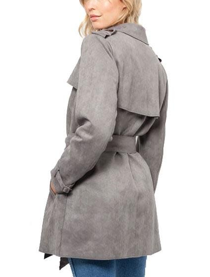 Love Token Violetta Faux Suede Jacket Grey