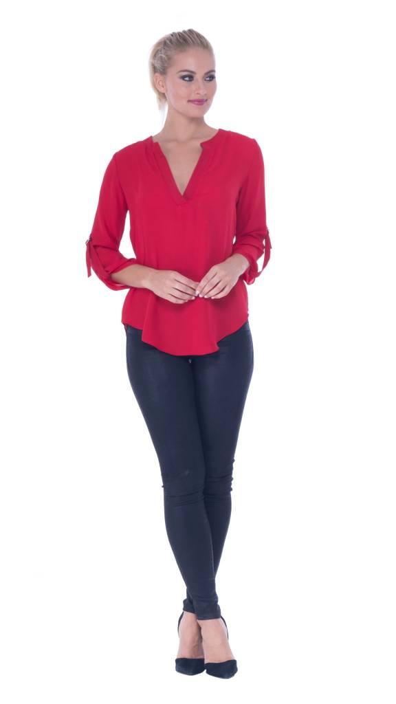 Atina Cristina  Juliette V-Neck Top Red