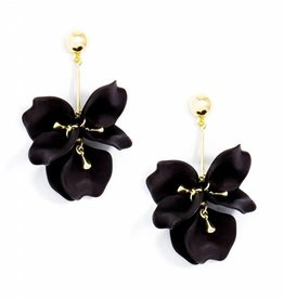 Zenzii Painted Petals Earring Black