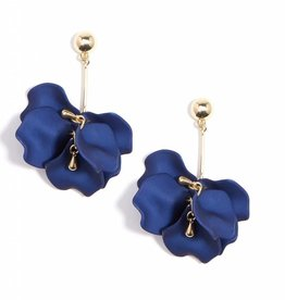 Zenzii Painted Petals Earring Navy