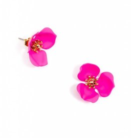 Zenzii Blooming Lotus Earring Hot Pink