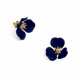 Zenzii Blooming Lotus Earring Navy