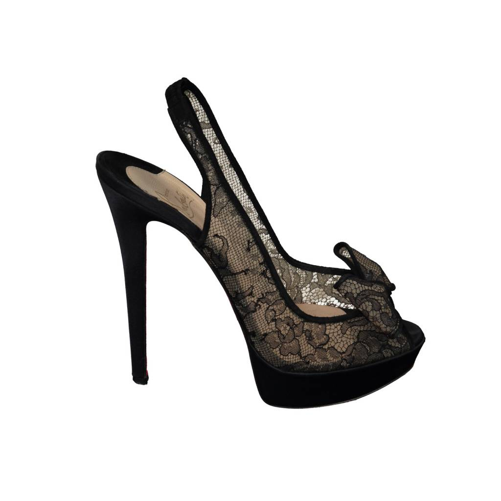 9e16651d244 ... promo code for christian louboutin sold christian louboutin black crepe  lace sandals with bow 8ef29 1e20c